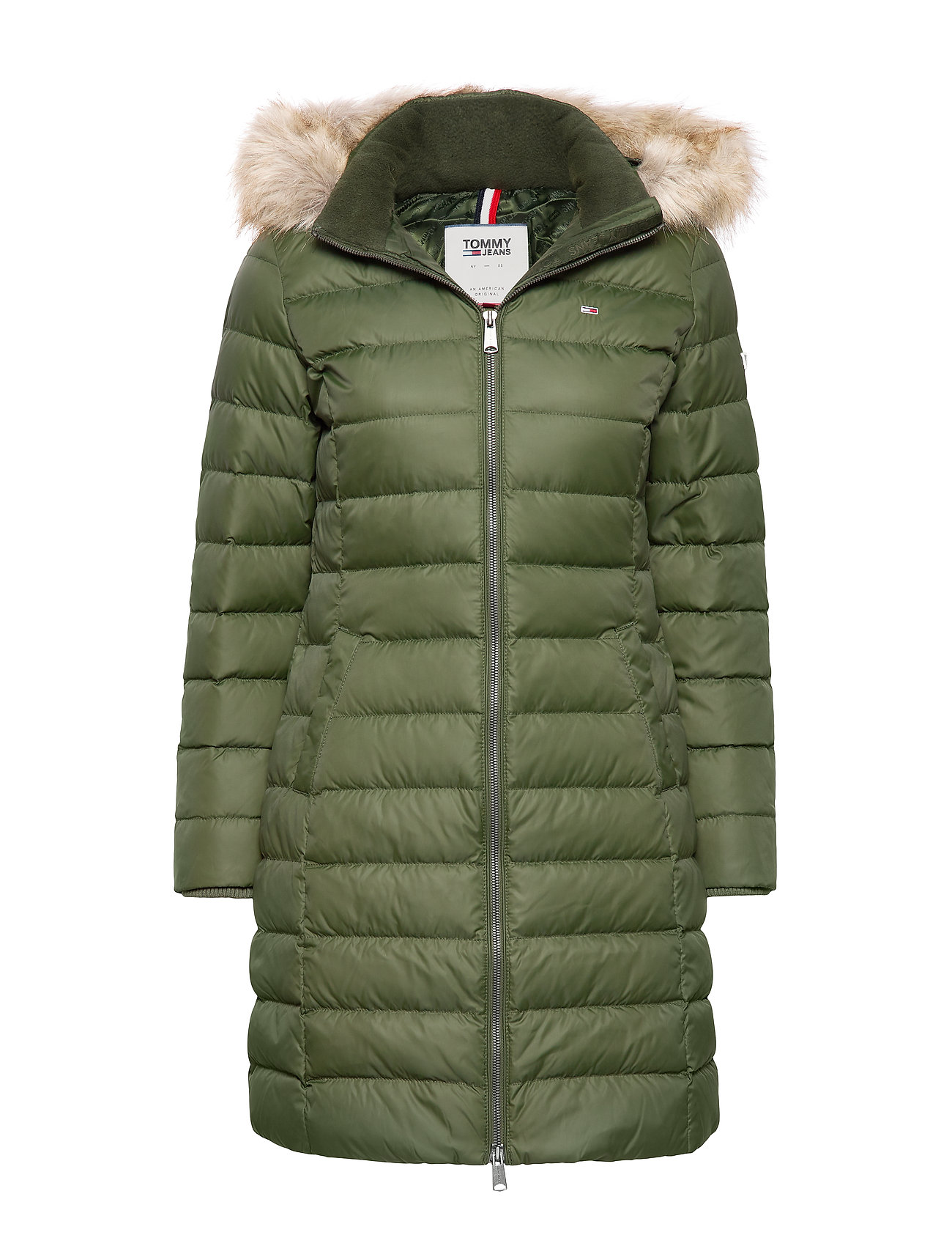 Tommy Jeans TJW ESSENTIAL HOODED DOWN COAT - KOMBU GREEN