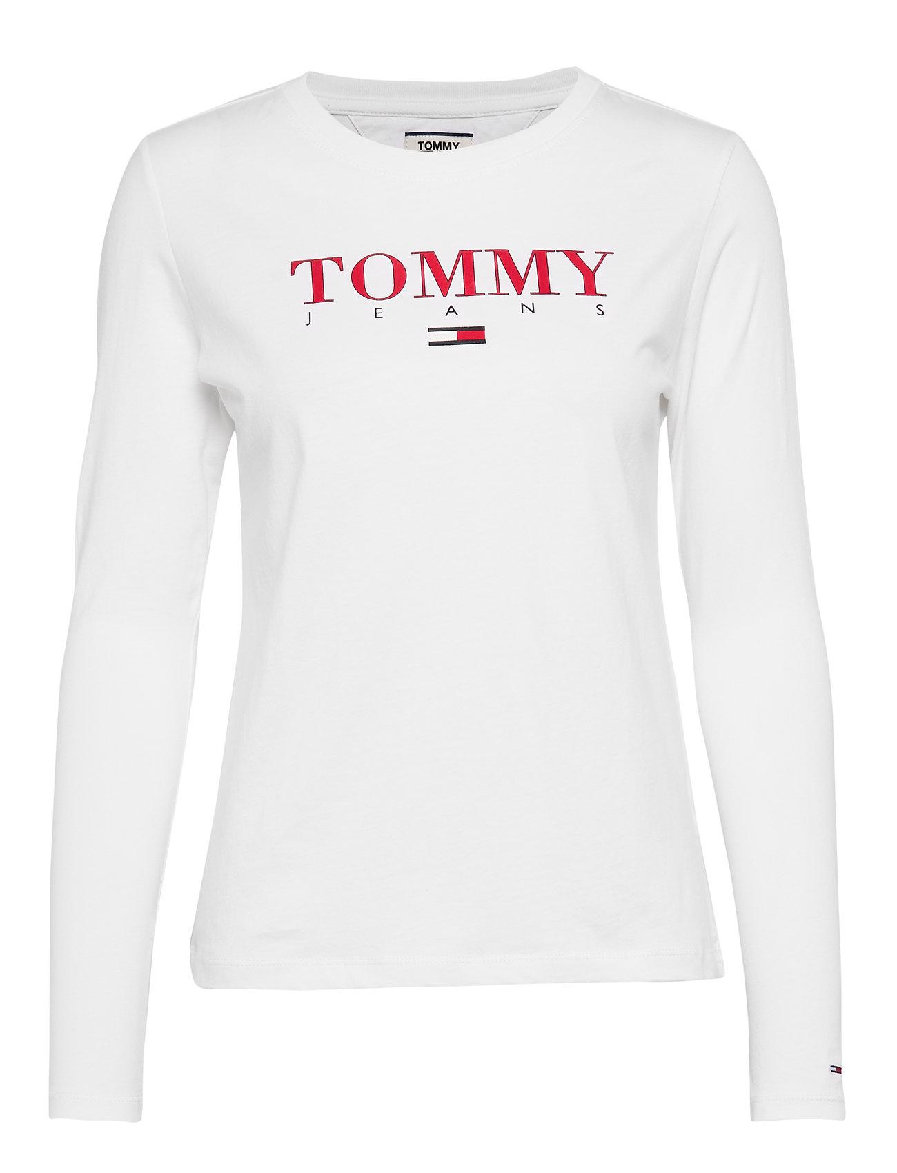 Tommy Jeans TJW ESSENTIAL LOGO LONGSLEEVE - CLASSIC WHITE