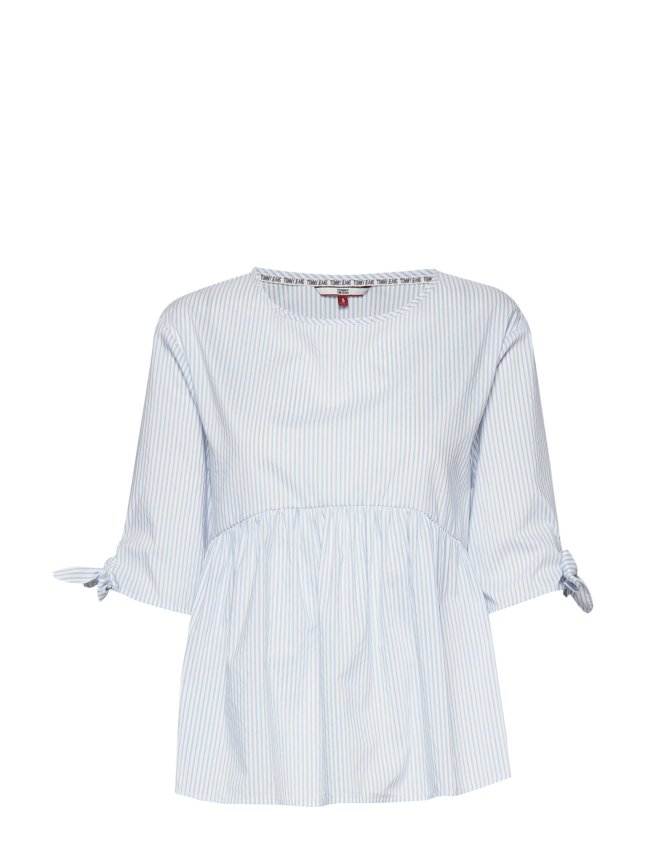 Tommy Jeans TJW SLEEVE BOW DETAIL BLOUSE - WHITE / MODERATE BLUE