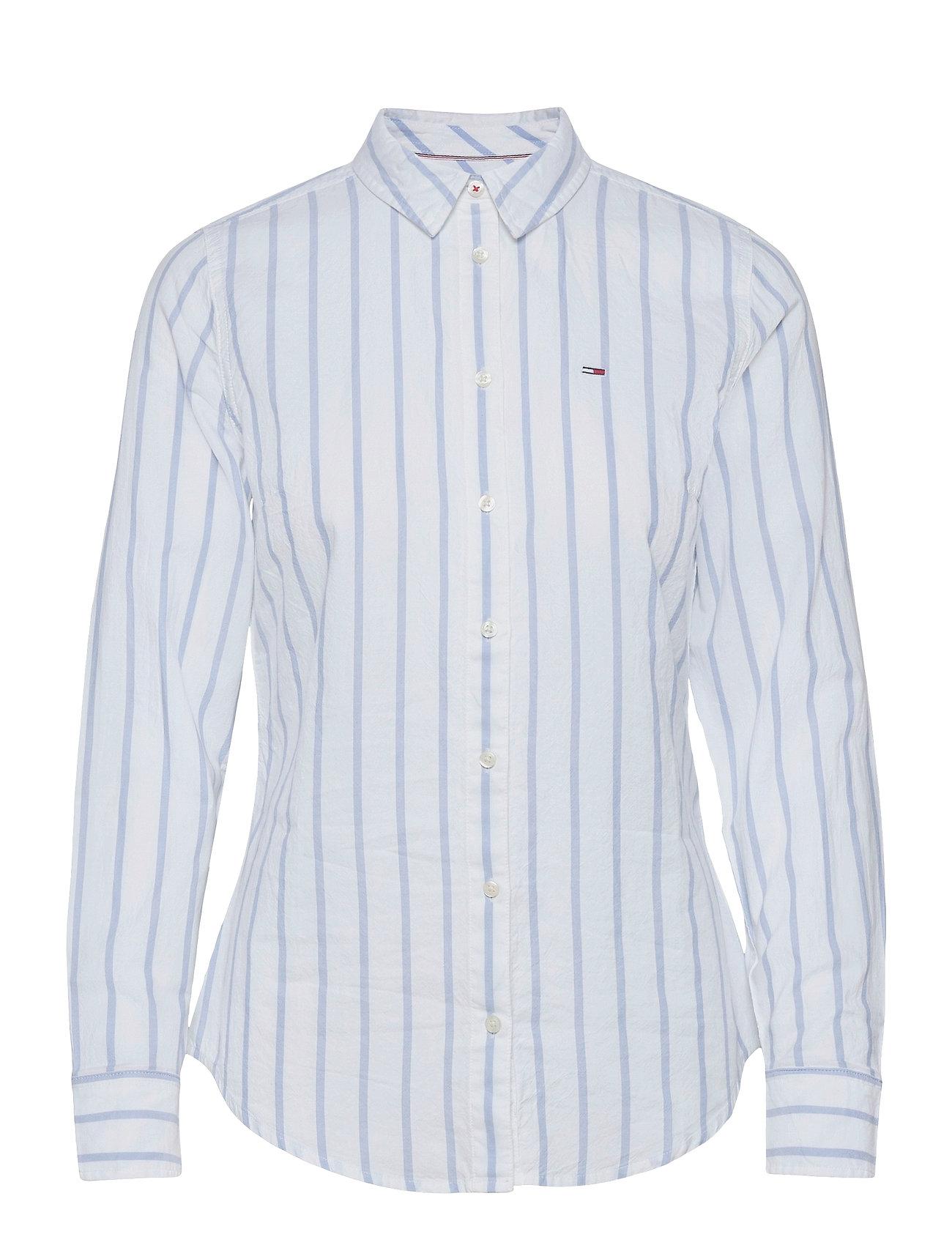 Image of Tjw Slim Oxford Stripe Shirt Langærmet T-shirt Blå Tommy Jeans (3499898155)