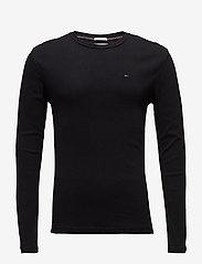 Tommy Jeans - TJM ORIGINAL RIB LONGSLEEVE TEE - basic t-shirts - tommy black - 0