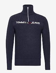 Tommy Jeans - TJM TEXTURED MOCK SWEATER - half zip - black iris - 0