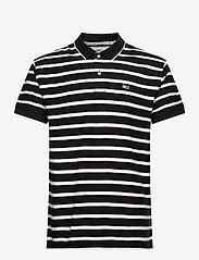 Tommy Jeans - TJM HERRINGBONE STRIPE POLO - lyhythihaiset - black / white - 0