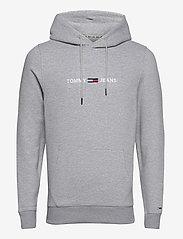 Tommy Jeans - TJM STRAIGHT LOGO HOODIE - hoodies - lt grey heather - 0