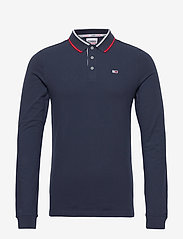 Tommy Jeans - TJM STRETCH SLIM LONGSLEEVE POLO - long-sleeved polos - twilight navy 654-860 - 0