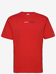 Tommy Jeans - TJM LINEAR LOGO TEE - basic t-shirts - deep crimson - 0