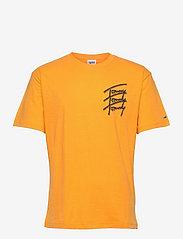 Tommy Jeans - TJM TOMMY REPEAT SCRIPT TEE - kortärmade t-shirts - florida orange - 0