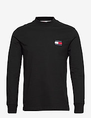 Tommy Jeans - TJM BADGE MOCK NECK LONGSLEEVE - basic t-shirts - black - 0