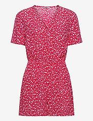 Tommy Jeans - TJW FLORAL PLAYSUIT - jumpsuits - floral print / deep crimson - 0