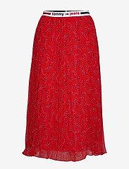 Tommy Jeans - TJW PLEATED MIDI SKIRT - midi skirts - paisley print / deep crimson - 0