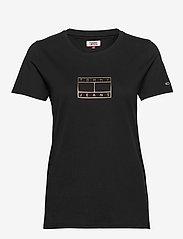 Tommy Jeans - TJW METALLIC OUTLINE FLAG TEE - t-shirts - black - 0