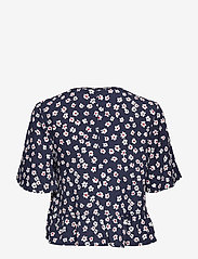 Tommy Jeans - TJW PRINTED PEPLUM TOP - short-sleeved blouses - floral print / twilight navy - 1