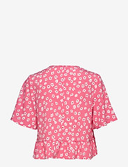 Tommy Jeans - TJW PRINTED PEPLUM TOP - short-sleeved blouses - floral print / glamour pink - 1