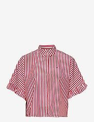 Tommy Jeans - TJW STRIPED FRILL SLEEVE BLOUSE - overhemden met korte mouwen - deep crimson / white - 0