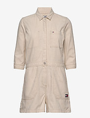 Tommy Jeans - SHORT JUMPSUIT - buksedragter - peyton white cotton  linen - 0