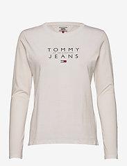 Tommy Jeans - TJW ESSENTIAL LOGO LONGSLEEVE - långärmade toppar - white - 0