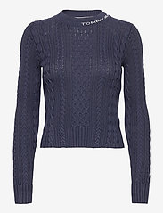 Tommy Jeans - TJW BRANDED NECK CABLE SWEATER - tröjor - twilight navy - 0