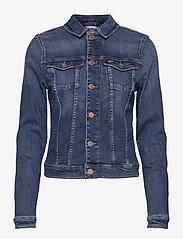 Tommy Jeans - VIVIANNE SLIM DENIM TRCKR HLDBST - denim jackets - harlow dark blue str - 0
