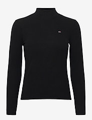 Tommy Jeans - TJW RIB MOCK NECK LONGSLEEVE - long-sleeved tops - black - 0