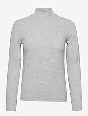 Tommy Jeans - TJW RIB MOCK NECK LONGSLEEVE - long-sleeved tops - silver grey htr - 0
