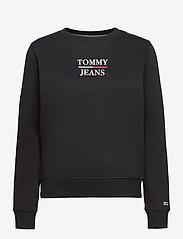 Tommy Jeans - TJW SLIM LOGO CREW - sweatshirts & hoodies - black - 0