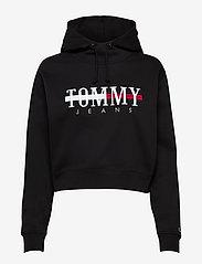 Tommy Jeans - TJW RELAXED CROP LOGO HOODIE - sweatshirts & hoodies - black - 0