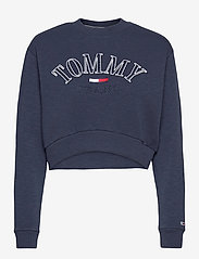 Tommy Jeans - TJW CROP COLLEGE LOGO SWEATSHIRT - sweatshirts & hoodies - twilight navy - 0