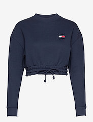 Tommy Jeans - TJW SUPER CROPPED BADGE CREW - crop tops - twilight navy - 0