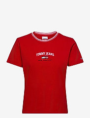 Tommy Jeans - TJW REGULAR TIMELESS SCRIPT TEE - t-shirts - deep crimson - 0