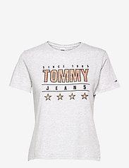 Tommy Jeans - TJW  SLIM METALLIC TOMMY TEE - t-shirts - silver grey htr - 0