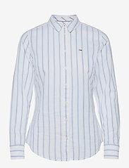 Tommy Jeans - TJW SLIM OXFORD STRIPE SHIRT - långärmade toppar - moderate blue / white - 0