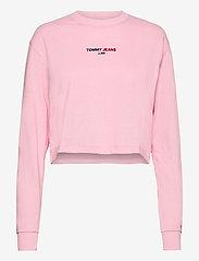 Tommy Jeans - TJW LINEAR LOGO LONGSLEEVE - crop tops - romantic pink - 0