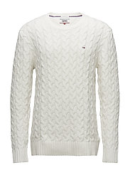 TJM CABLE SWEATER - MARSHMALLOW