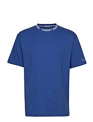 TJM HEATHER BRANDED COLLAR TEE - LIMOGES