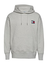TJM TOMMY BADGE HOODIE - LIGHT GREY HTR