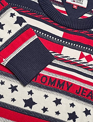 Tommy Jeans - TJM AMERICANA STRIPE SWEATER - rund hals - flame scarlet / multi - 2