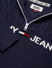Tommy Jeans - TJM TEXTURED MOCK SWEATER - half zip - black iris - 2