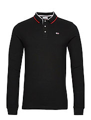 TJM STRETCH SLIM LONGSLEEVE POLO - BLACK