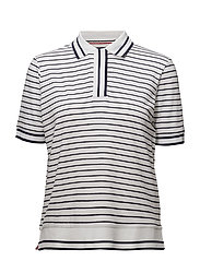 TJW STRIPED POLO S/S - BRIGHT WHITE / NAVY BLAZER