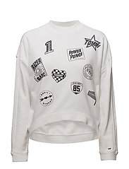 TJW MULTI BADGE SWEA - BRIGHT WHITE