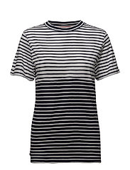 TJW STRIPE MIX TEE, - BLACK IRIS / BRIGHT WHITE