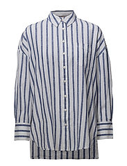 TJW OVERSIZED STRIPE SHIRT - BLUE PRINT / BRIGHT WHITE