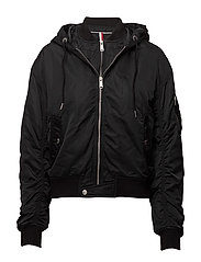 TJW HOODED ZIP DETAIL BOMBER - TOMMY BLACK