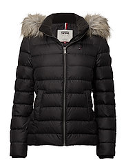 TJW ESSENTIAL HOODED DOWN JACKET - TOMMY BLACK
