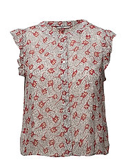 TJW FLORAL SLEEVELESS BLOUSE - SCRIBBLE FLORAL PRINT