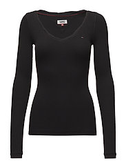 TJW RIB SCOOP NECK LONGSLEEVE - TOMMY BLACK