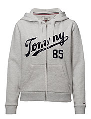 TJW LOGO ZIP HOODIE - PALE GREY HEATHER