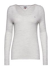 TJW BASIC CREW NECK SWEATER - PALE GREY HEATHER