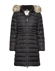 TJW ESSENTIAL HOODED DOWN COAT - TOMMY BLACK