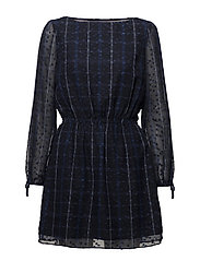 TJW PRINTED BOAT NECK DRESS - BLUE CHECK